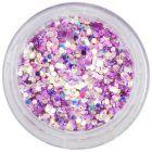 Confetti roz-violet în pulbere, 1mm - hexagoane cu efect holografic