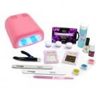 Kit mare pentru unghii cu gel Christel French + lampă 4 becuri culoare roz