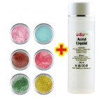 Set culori cu sclipici 6buc + 100ml lichid acril GRATIS