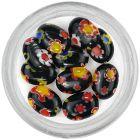 Decorațiuni negre pentru unghii cu model - strasuri, oval